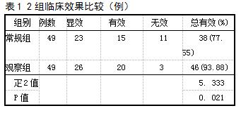 表1 2组临床效果比较