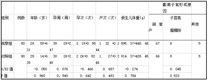 表1两组产妇一般资料(x+s,例)