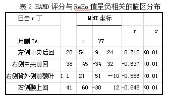 表2 HAMD评分与ReHo值呈负相关的脑区分布
