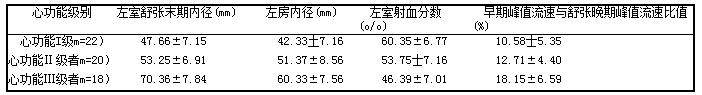 表2不同心功能左室舒张末期内径、左房内径、左室射血分数、早期峰值流速与舒张晚期峰值流速比值对比(i土s1
