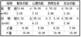 表3两组患者生活质量评分比较[分,(i±s)]